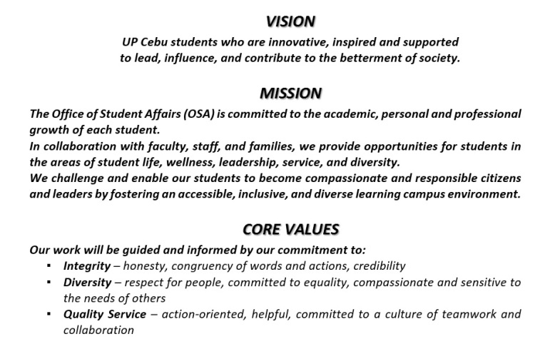 Vision, Mission, Core Values